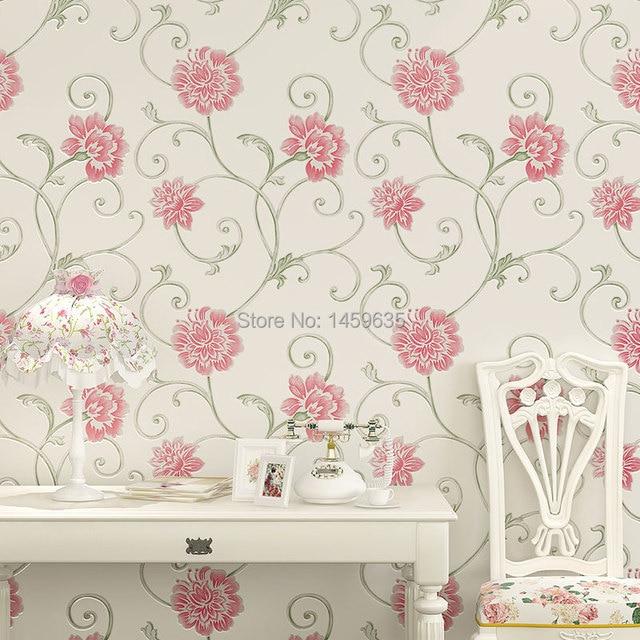 Purple stereoscopic 3 d flower wallpaper rural sweet romance non woven wallpaper the bedroom - Behang patroon voor de slaapkamer ...