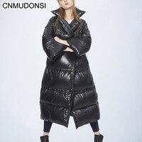 CNMUDONSI для женщин 2018 зима с капюшоном длинный пуховик пальто Женская мода Европейский большой размеры теплая зимняя верхняя одежда