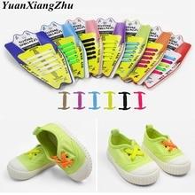 лучшая цена 10Pcs/Set Elastic Silicone Shoelaces Children Athletic Running No Tie ShoeLaces All Sneakers shoes lace Fit Strap Shoelace