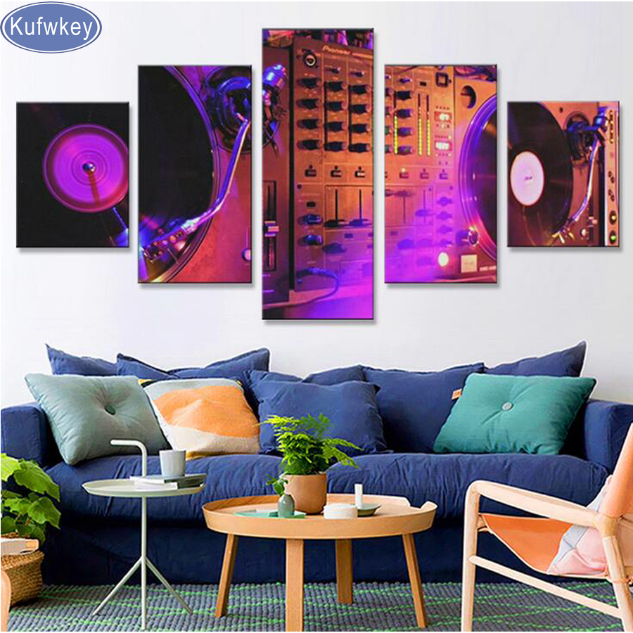 DJ Night club of mural bar production wholesale diamond painting 5 piece canvas art Music dance hall modern the bar wall decor