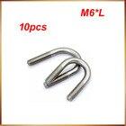 U bolt 10pcs/lot Stainless steel clamp U bolt U-bolts M6*8/10/12/14/16/18/20/22/25/27/33/38/42/45/48/51/57/60 M6 U bolts