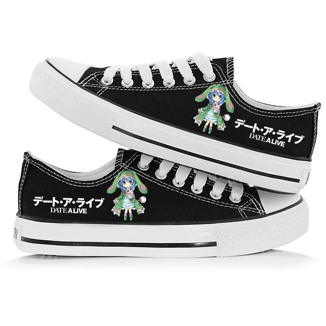 Mujer y hombre zapatos de Cosplay del anime de japón FECHA A LIVE pintados a mano de los Estudiantes de bajo zapatos de Lona planos envío gratis