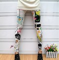 Free Shipping New Womens Fashion Trend Sau San Hin Sunflower Butterfly Graffiti Leggings Splash-ink Stretch Feet Pants For Women