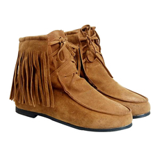 2017 New Spring Autumn Ankle Boots For Women Suede Leather Tassel Ladies Boots Womens Flat Boots Shoes Botas Free Shipping O040