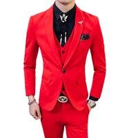 Красный Выпускной костюм 2018 Новый вечерний мужской костюм мужской черный оранжевый белый синий костюм Homme Ternos Slim Masculino 3 шт.