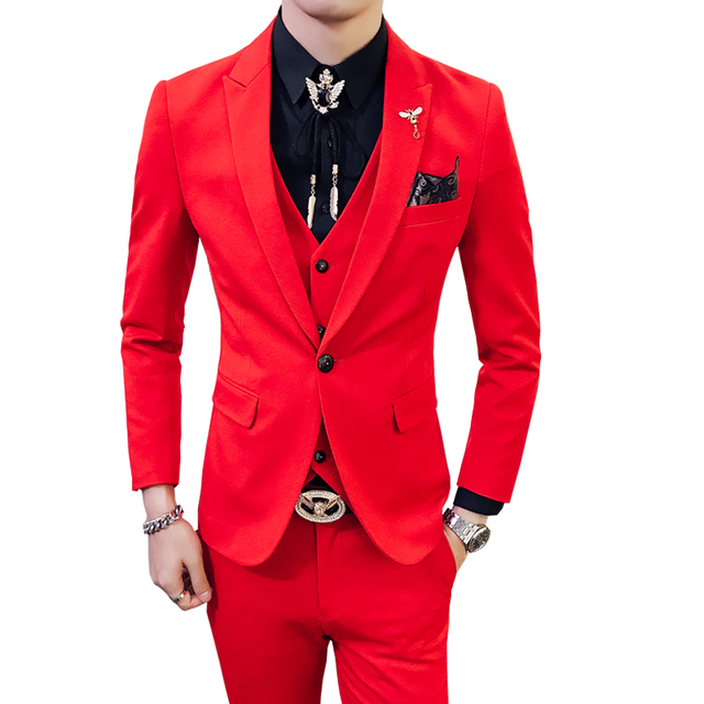 Red Prom Suit 2018 New Evening Man Dress Wedding Suit Male Black ...