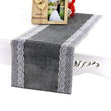 Camino de mesa arpillera con encaje de yute de 30x275 cm, camino de mesa Vintage para eventos, suministros de mesa de encaje para cumpleaños, boda, fiesta, accesorios
