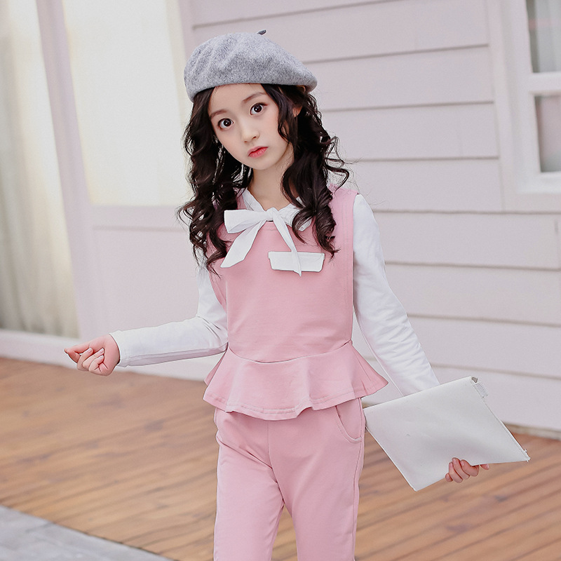 Girls Clothing Set 2018 Spring Wear Kids Clothes For 4 5 6 7 8 9 10 11 12 13 Years Long Sleeve Shirt + Vest + Pant 3pcs sport suit for boy 5 6 7 8 9 10 11 12 13 14 15 years teenagers kids clothing set long sleeve print shirt pant 2pcs clothes
