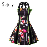 Sisjuly Women S Vintage Dress Summer Black Sleeveless Backless New Dress Floral Print Bow Halter Patchwork