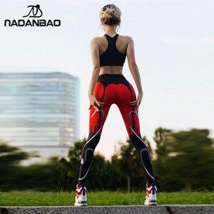 Image 3 - NADANBAO 2019 Women Leggigns Heart Shape Digital Print Patchwork Fitness Legging Push Up Workout Plus Size Leggins Pants