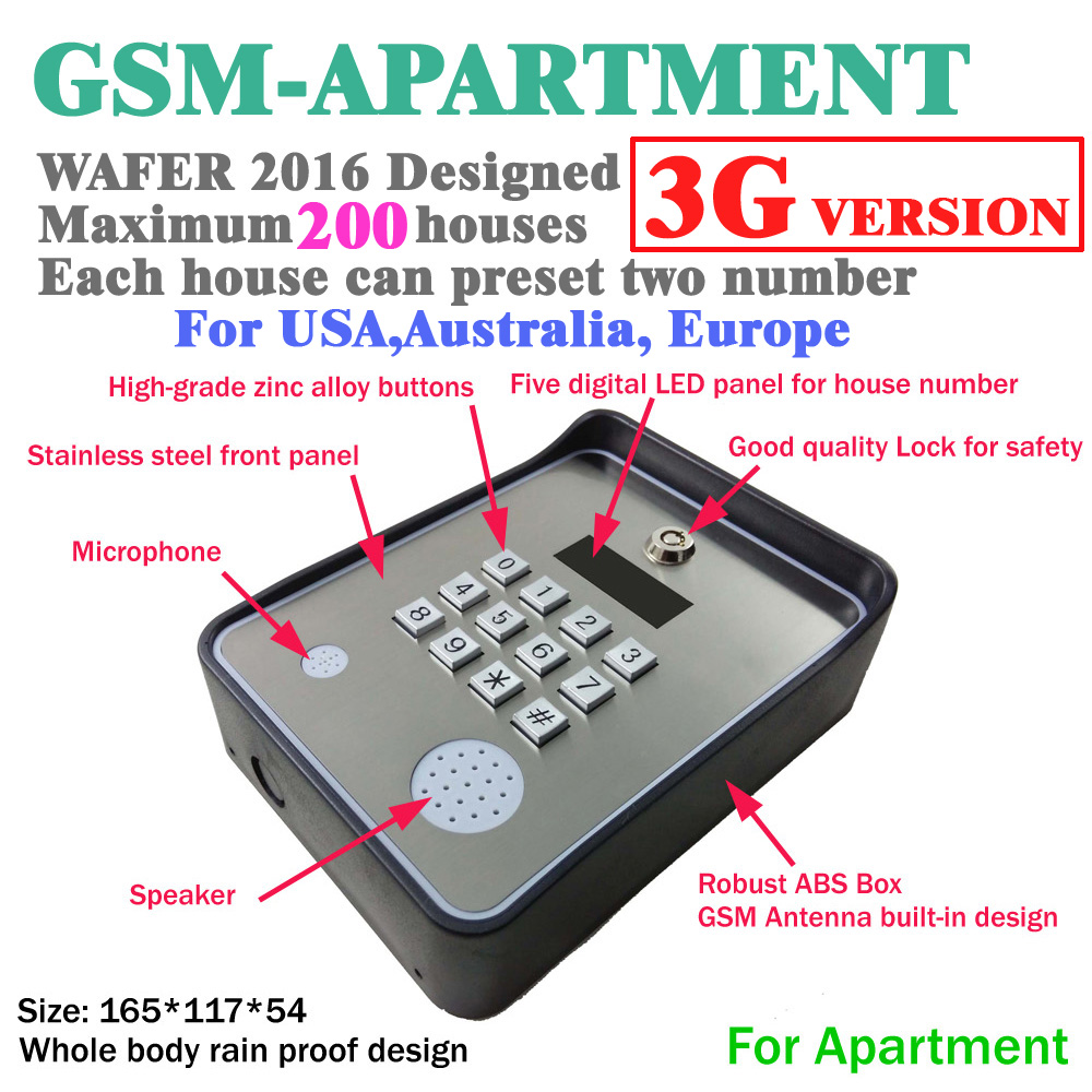 3G and GSM intercom wireless door and gate opener access controller and service help calling dc12v power input gsm apartment keypad handfree apartment door or gate access controller with wireless gsm audio intercom system