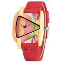 Creative Elegant Women Watch Unique Colorful Wooden Wristwatch Genuine Leather Clasp Gift For Ladies Stylish Quartz