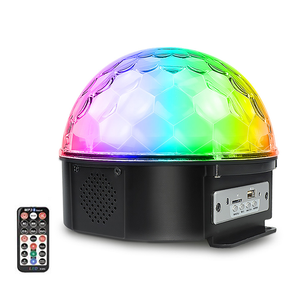 25W 9 Colors LED Stage Lighting Effect 7 Modes Sound Control Bluetooth Speaker Disco Light with Remote Control Party DJ Light