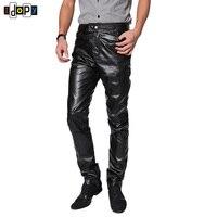 Fashion Trend Black PU Faux Leather Pants Skinny Mens Joggers Biker Pants Casual Tousers For Men