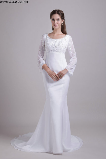 Princess Long Sleeve Beach Wedding Dresses Victorian Medieval Style Lace Mermaid Gothic Bridal Gown