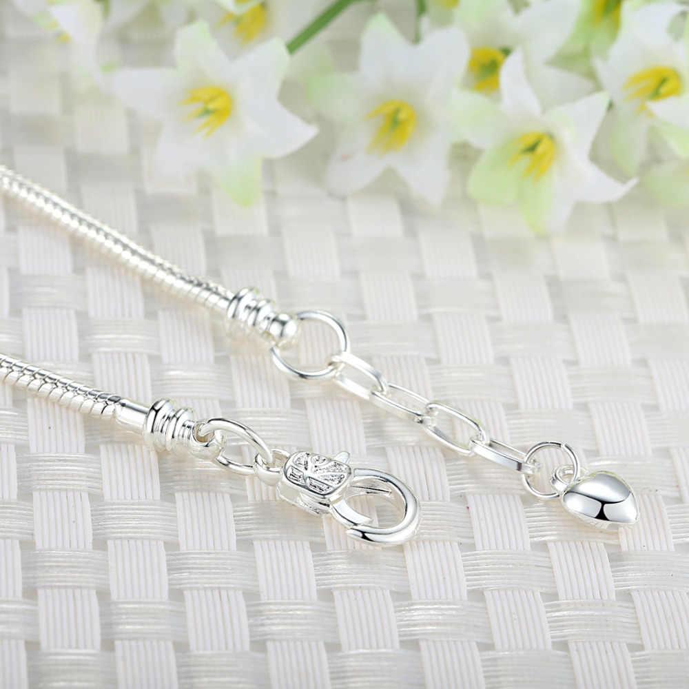 Wysokiej jakości bransoletka srebrna DIY biżuteria łańcuszek dla kobiet z sercem karabińczyk Fit bransoletka typu charm DIY