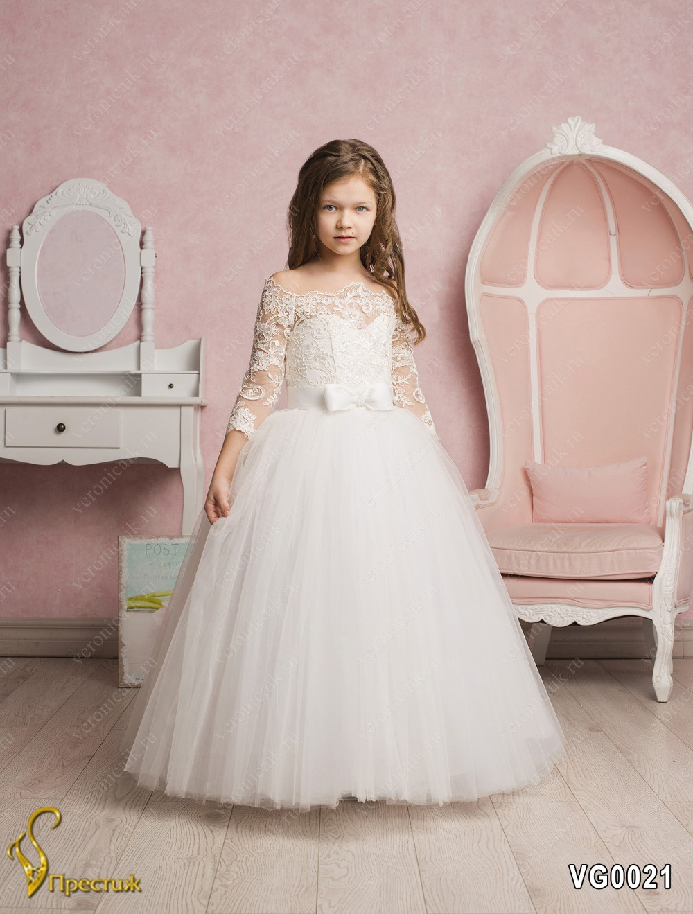 Beautiful Lace Embroidery Off Shoulder Girls Tulle Ball Gowns Three Quarter Sleeves Solid White Kid First Communion Dress 2-12 Y embroidery basis book 500 kinds of three dimensional embroidery patterns