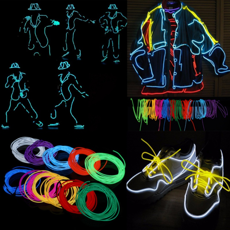 1M2M/3M/5M <font><b>El</b></font> wire Waterproof LED Strip Light Neon Light Glow light line Rope Tube Cable+Battery <font><b>Controller</b></font> Party <font><b>Car</b></font> Decoration image