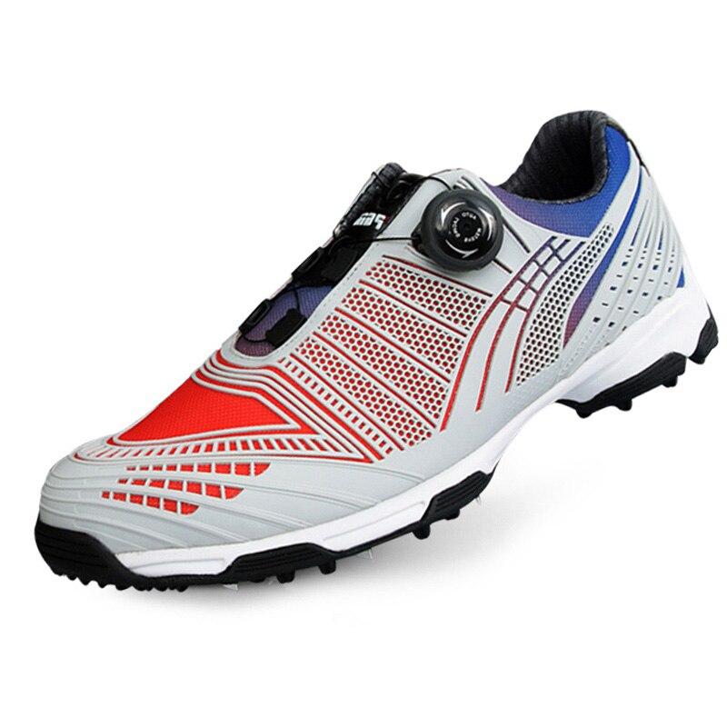Pgm De Golf Chaussures Hommes Chaussures de Sport Sports Masculins Imperméables Chaussures Boutons Boucle Lacet Respirant Anti-slip Hommes Formation Sneakers