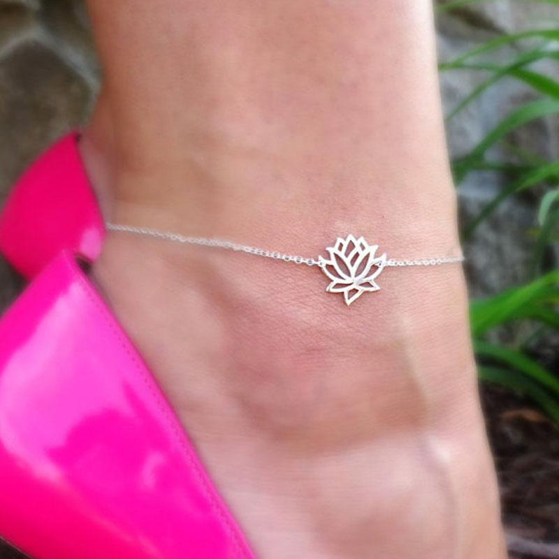 Elegant Lotus Flower Anklet Bracelet Women Girls Foot Chain Jewelry Indian Buddha Amulet Rose Gold Silver Color Chic Enkelbandje