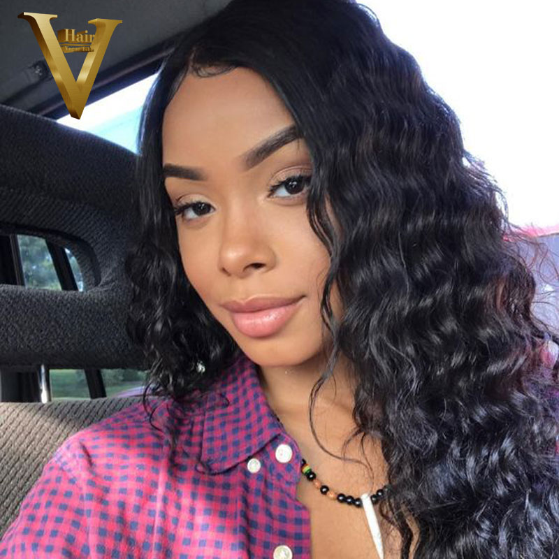 Glueless Lace Front Human Hair Wigs Deep Wave Brazilian Remy Hair Natural Hairline Frontal Lace Hair