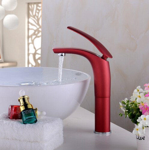 New Arrivals Brass Basin Faucet with Color Spray Painting Basin Sink Mixer Tap Single Handle Water Mixer Toilet Faucet in Basin Faucets from Home Improvement