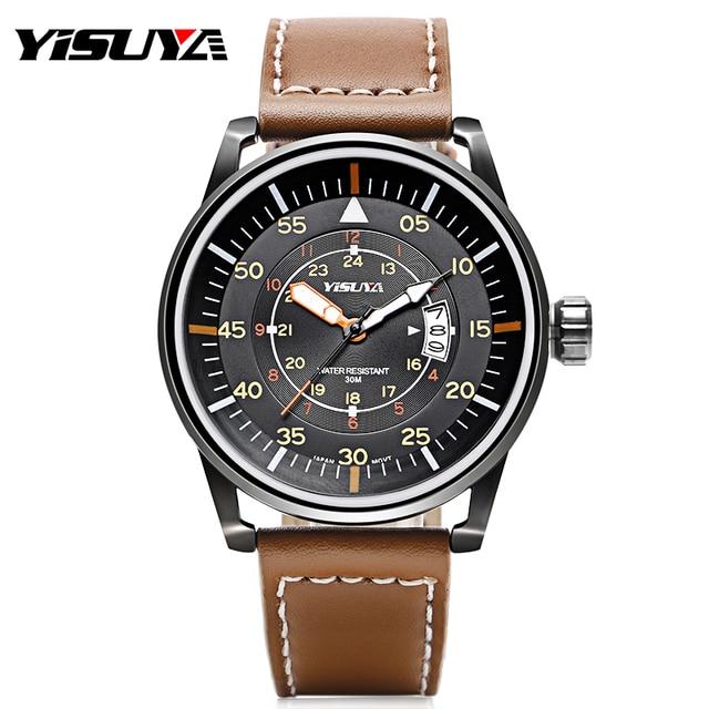 c2170a0a28b33 YISUYA 30 ATM Resistente À Água Mens Relógios Pulseira de Couro Genuíno Relógio  Aviador Esporte Casual