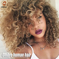 Grade 7A Ombre Brazilian Deep Curly Hair With Closure 3 Brazilian Virgin Hair Bundles With Lace Closures hair extensions