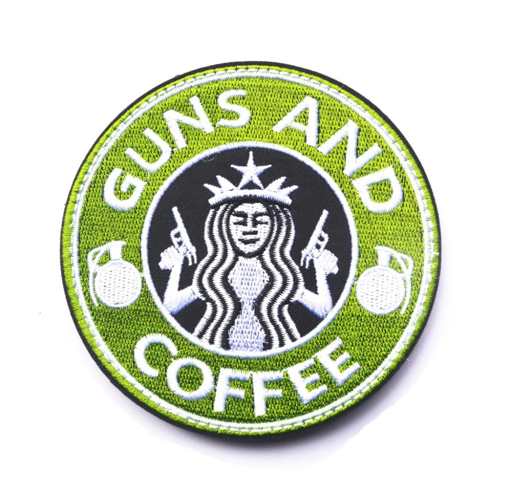 Tactical guns and coffee hook morale military embroidered patch tactical guns and coffee hook morale military embroidered patch starbucks logo patch army chevrons badge armband green 2pcs in patches from home garden on biocorpaavc Image collections