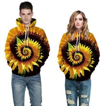 ISHOWTIENDA Men Women 3D Sunflower Print Long Sleeve Couples Hoodies Blouse Sweatshirts manteau femme hiver(China)