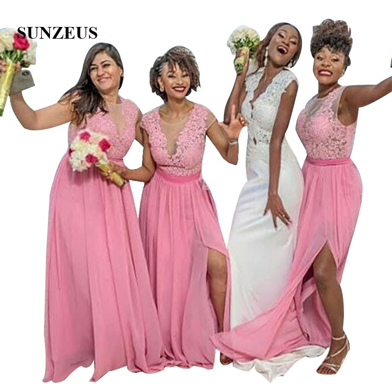 Illusion Bodice Appliques   Bridesmaids     Dress   Pink Chiffon Party Gowns For Wedding Women Long Beach   Dress