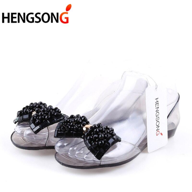 2018 Summer Sandals Women Fashion Jelly Shoes Sandal Bling Bowtie Transparent PVC Flat Shoes Woman Beach Sandalias Femme women sandals 2016 fashion flat sandals shoes woman summer shoes jelly shoes