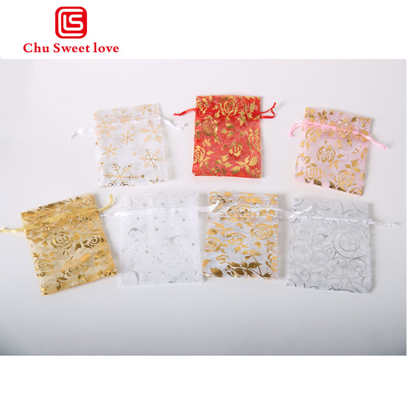 100Pcs Lot 9x12CM Organza Jewelry Gift Small Drawstring Pouches Variety Of Roses Color Picture Optional Organza