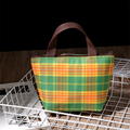Free Shipping Small Insulated Picnic Cooler Bags Green Plaid Pattern Small Lunch Bag Thermal Bags for Food Handbags QJL102