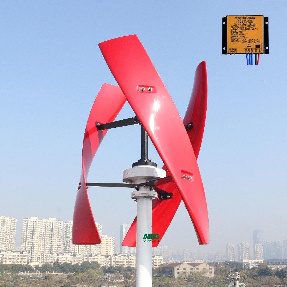 300 Вт/400 Вт 24В спиральный ветряной генератор красный/белый VAWT Вертикальная ось жилой энергии с MPPT/ШИМ контроллер зарядного устройства