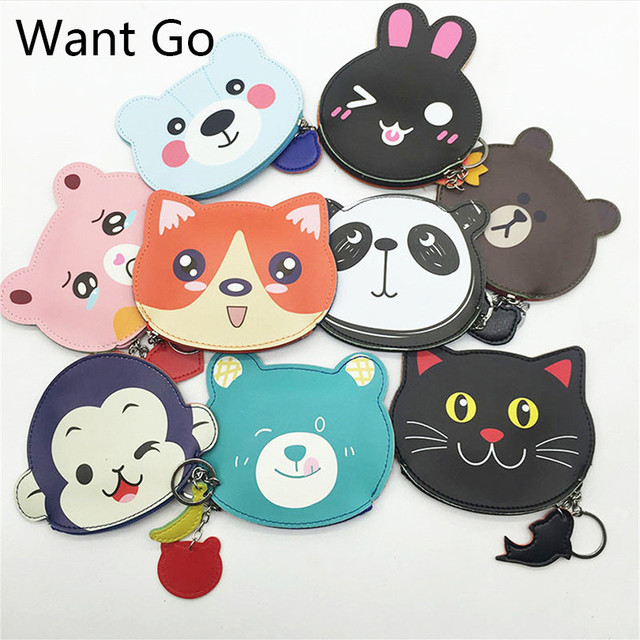 Want Go Sweet Animal Cartoon Kids Coin Purse Pu Leather Coin Bag Girls Cute Small Wallet & Purse Portable Mini Key Storage Bag