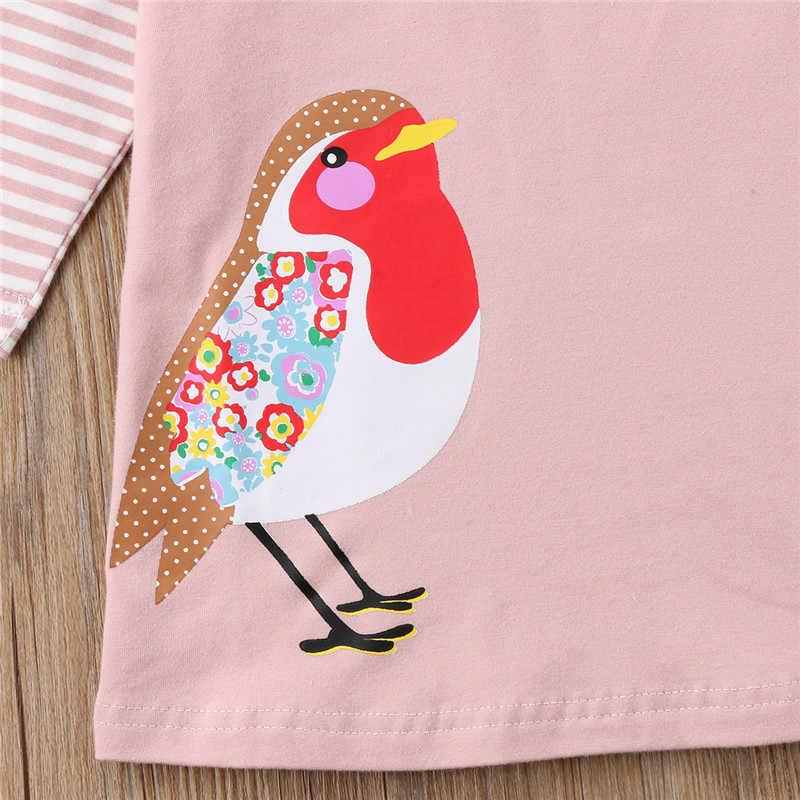 Pudcoco mais novo criança bebê meninas manga longa impressão pássaro festa pageant vestido de casamento bonito pop outono roupas 1-7 t