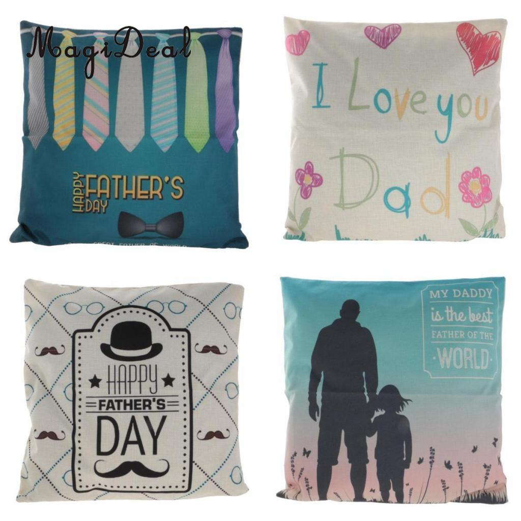MagiDeal Fathers Day Gift Cotton Linen Throw Father Day Pillow Case Gifts For Father