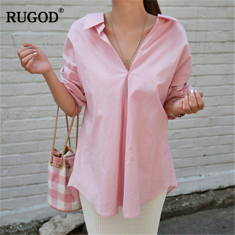 RUGOD Womens Tops and Blouses <font><b>2018</b></font> <font><b>Autumn</b></font> <font><b>Sexy</b></font> Backless Long Sleeve Pink Shirt Women Casual Beach Blouse Blusas befree Kimono image