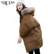 Hijklnl парка Mujer Для женщин зимнее пальто Новинка 2017 года теплая куртка с капюшоном для девочек с меховой воротник с рукавами «летучая мышь» зимняя куртка NA411