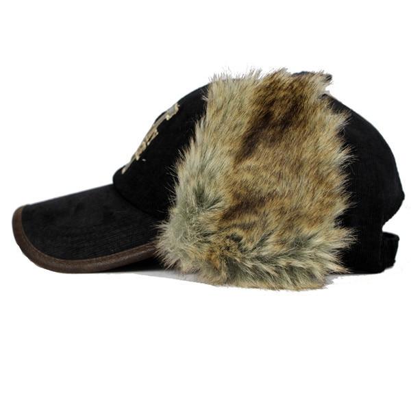 letter winter rabbit fur warm adjustable baseball cap with ear flaps for men fleece nike