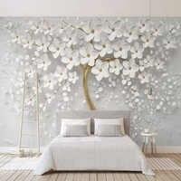 Papel tapiz personalizado De cualquier tamaño, Mural 3D con flores blancas, pintura para pared, sala De estar, TV, sofá, dormitorio, fondo, Papel De pared