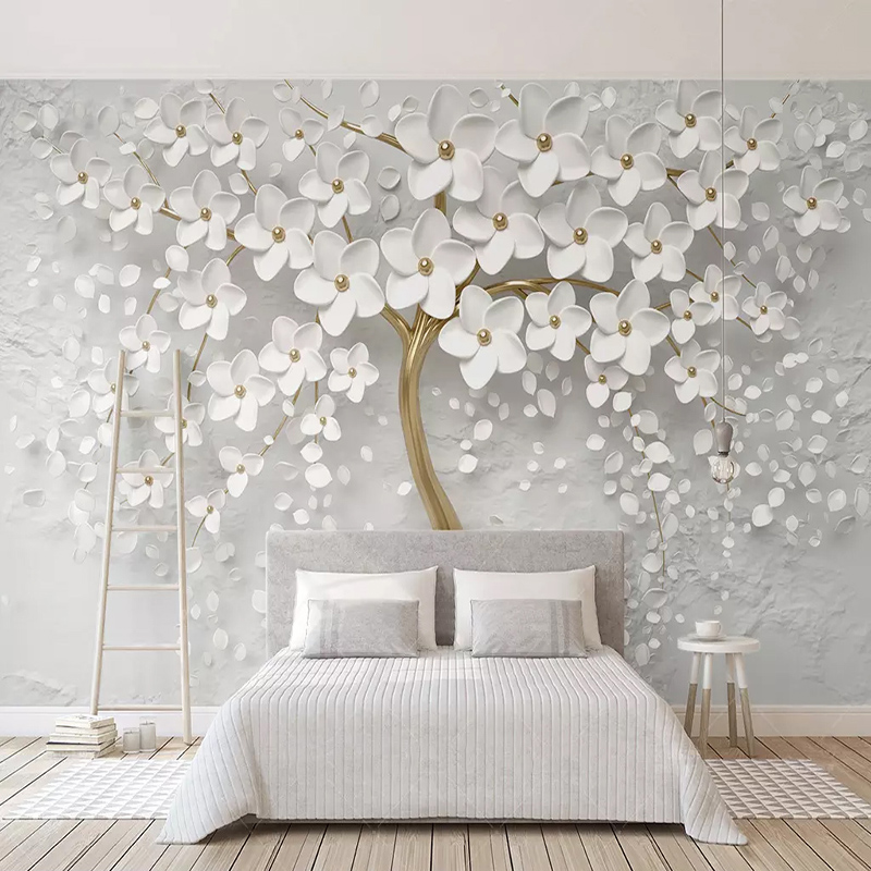 Custom Any Size Murals Wallpaper 3D Stereo White Flowers Wall Painting Living Room TV Sofa Bedroom Backdrop Wall Papel De Parede