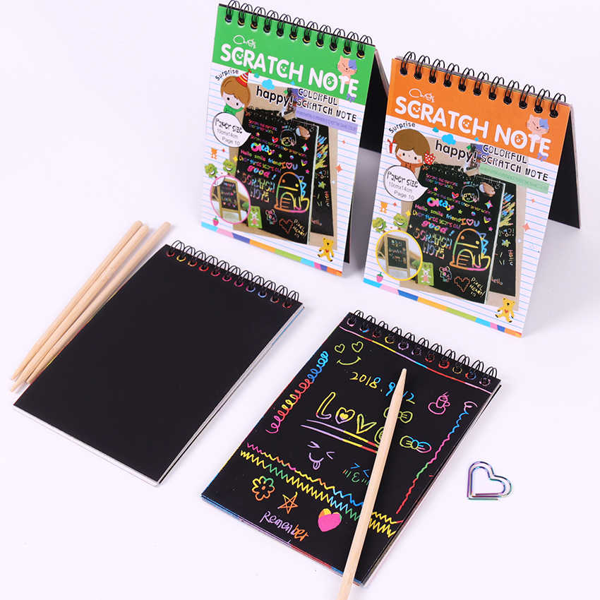 1PC DIY Scratch Note Book Drawing Sketchbook Children Gift Creative Imagination Development Toy Stationery School Supplies
