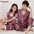 Summer Couples Silk Pajamas Women Wedding Suit Tracksuit Short-Sleeved Thin Pyjamas Women Lounge Pajama Sets