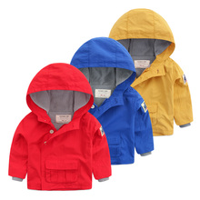 Baby pure color coat The boy a hooded fleece tops 2016 new children's clothing qiu dong outfit Children zipper jacket