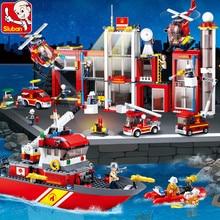 2019 City Fire Police Truck Sea Rescue Boat Car Building Blocks Model LegoINGLs Technic Bricks DIY Educational Toys For Children