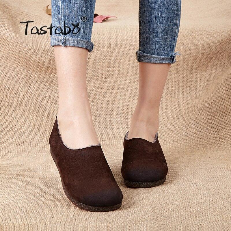 Véritable En Femmes Dames Mocassins Hiver Cuir Chaussures Chaud Tdx5fqw