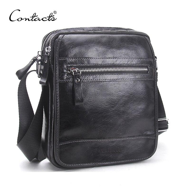 CONTACT'S Новый дизайн Мужская сумка на плечо из коровьей кожи с карманом на молнии Нежная мужская сумка через плечо из натуральной кожи мужская...