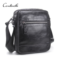 CONTACT'S Male 100% Cow leather Shoulder Bag For Men Crossbody Flap Bag Men Over the shoulder bags high quality messenger bags